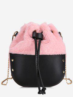 Fluffy Design String Crossbody Bag - Pink