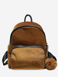Layered Zipper Corduroy Fluffy Ball Backpack - Brown