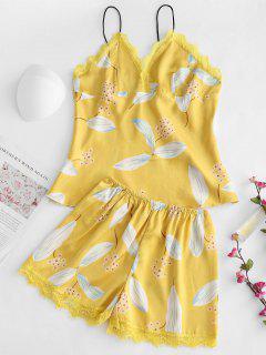 Conjunto De Pijamas De Satén Con Ribete De Encaje - Marrón Dorado Xl