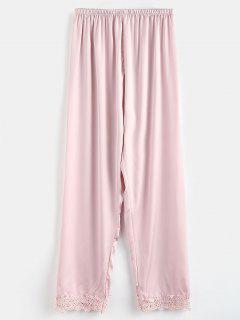 Pantalon De Pyjama En Satin Avec Ourlet Au Crochet - Rose PÂle M