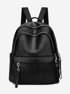 Layered Zipper Design PU Leather Backpack - Black
