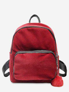 Layered Zipper Corduroy Fluffy Ball Backpack - Red