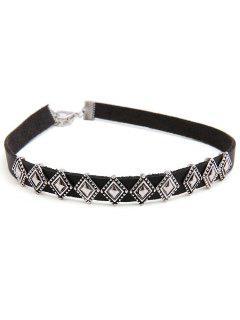 Rhombus Design Alloy Choker Necklace - Silver