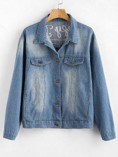 Flamingo Embroidered Denim Jacket - Denim Blue L