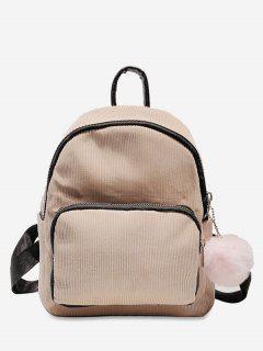 Layered Zipper Corduroy Fluffy Ball Backpack - Pig Pink