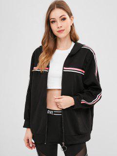 Hooded Zipper Striped Jacket - Black L