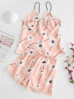Cami Lace Trim Flower Print Pajamas Set - Pink M
