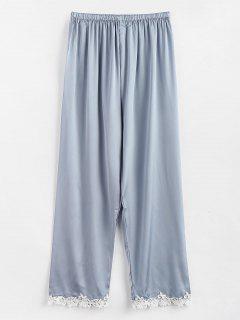 Pantalones De Pijama Bordados De Raso - Gris Azulado M