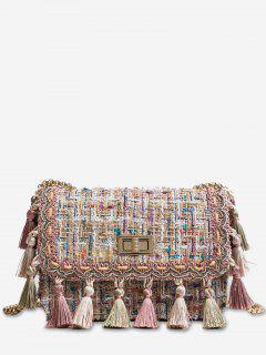 Ethnic Plaid Tassel Design Crossbody Bag - Pink