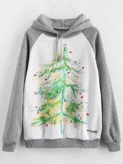 Fleece Lined Christmas Tree Pullover Hoodie - Multi S
