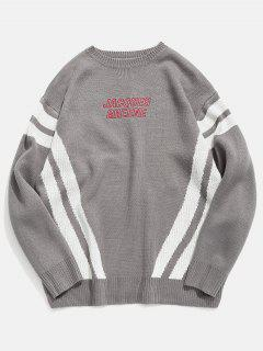Stripe Contrast Letter Embroidery Knit Sweater - Gray M