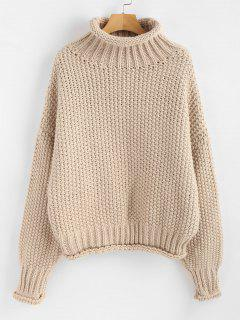 Rolled Hem Chunky Turtleneck Sweater - Apricot
