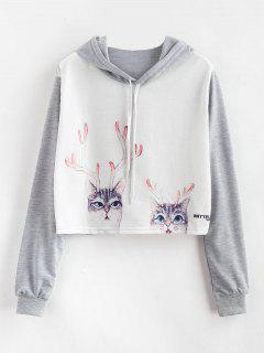 Cat Print Cropped Graphic Pullover Hoodie - Multi S
