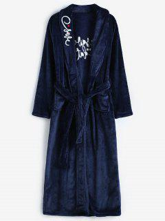 Embroidery Flannel Robe - Blue M
