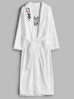 Robe Brodée En Flanelle - Blanc M