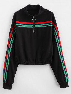 Zip Front Striped Patched Sweatshirt - Black L