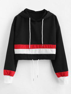 Drawstring Waist Contrast Crop Hoodie - Black S