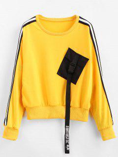 Side Striped Pocket Sweatshirt - Bright Yellow Xl
