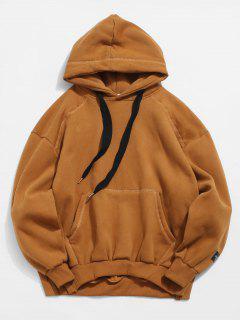 Kangaroo Pocket Fleece Warmth Pullover Hoodie - Brown M