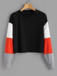 Color Block Sleeves Sweatshirt - Black L