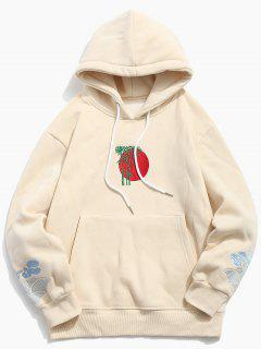 Clouds Embroidery Casual Pullover Hoodie - Apricot M