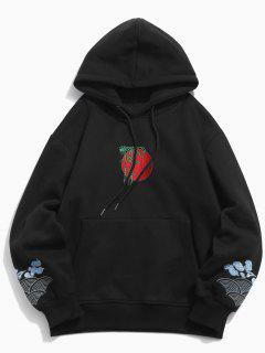 Clouds Embroidery Casual Pullover Hoodie - Black 2xl