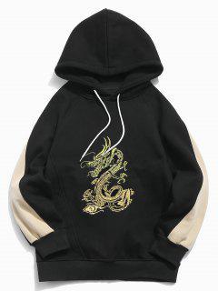 Manteau à Capuche Dragon Brodé En Blocs De Couleurs - Noir L
