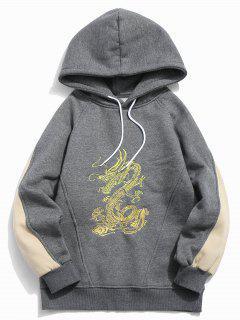 Manteau à Capuchon à Blocs De Couleur Dragon Brodés - Gris Foncé M