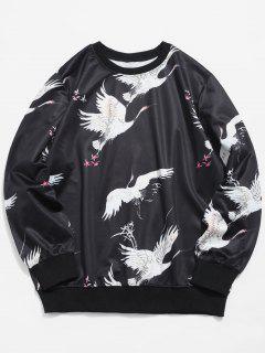 Crane Printed Elastic Sweatshirt - Black S