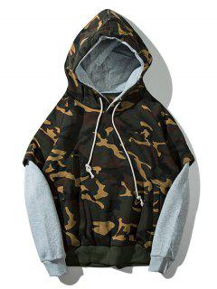 Patchwork Camouflage Print Plush Pullover Hoodie - Gray Cloud M