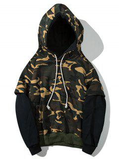 Patchwork Camouflage Print Plush Pullover Hoodie - Black Xl
