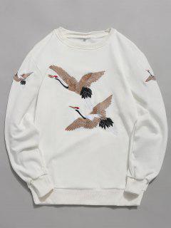 Embroidery Crane Pullover Sweatshirt - White M