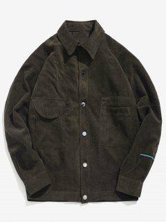 Corduroy Embroidery Button Fly Jacket - Deep Brown L