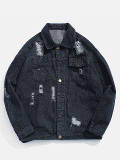 Button Fly Ripped Denim Jacket - Black M
