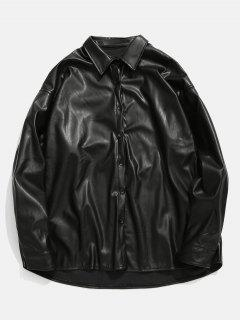 Solid PU Leather Button Up Jacket - Black Xl