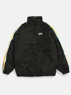 Side Rainbow Stripe Letter Padded Jacket - Black L