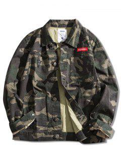 Multi-pocket Button Up Applique Camouflage Jacket Coat - Digital Woodland Camouflage S