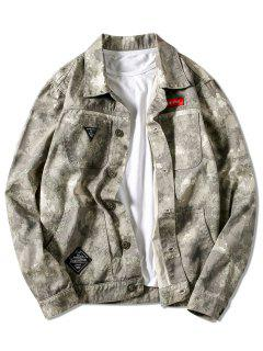Multi-pocket Button Up Applique Camouflage Jacket Coat - Digital Desert Camouflage M
