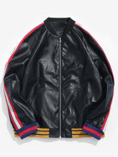 PU Leather Stripe Bomber Jacket - Black S
