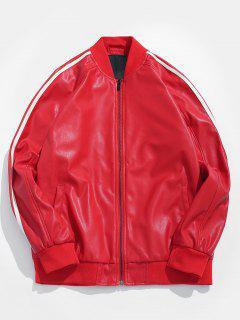 Side Stripe PU Leather Bomber Jacket - Lava Red Xs