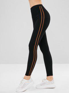 Stripe Trim Elastic Thick Leggings - Coffee