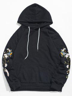 Flower Bird Embroidery Hoodie - Black L