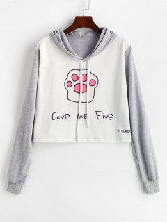 Give Me Five Graphic Cropped Pullover Hoodie - Multi S