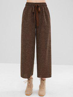 High Waisted Wide Leg Sweater Pants - Coffee