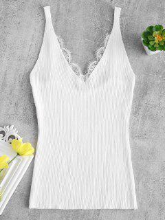 Lace Trim Ribbed Slim Cami Top - White