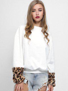 Leopard Faux Fur Cuffs Loose Sweatshirt - White M
