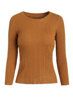 Ribbed Knit Basic Sweater - Brown
