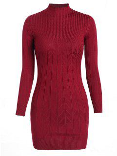 Cable Knit Longline Funnel Sweater - Red Wine