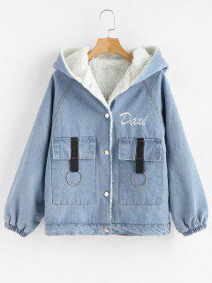 Embroidered Fluffy Lining Hooded Denim Jacket - Light Blue L