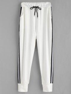 Side Stripe Patch Jogger Pants - White M